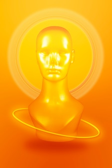 Yellow dummy head on an orange background