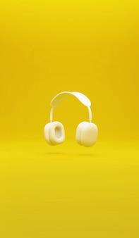 노란색 이어폰 듣기 소리 개념 배경 방문 메인 페이지 프리미엄 사진