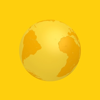 Желтый земной шар в двухцветном стиле на желтом фоне. 3d рендеринг