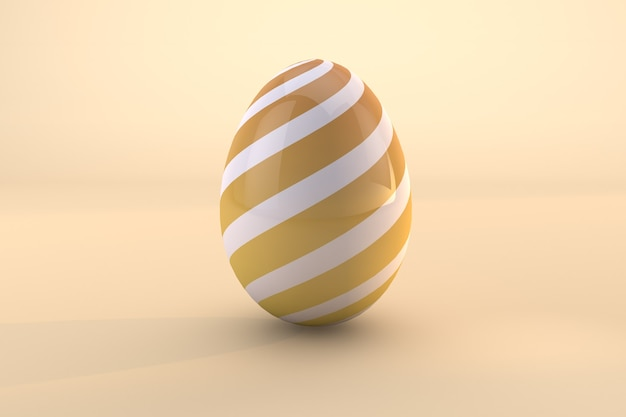 Yellow easter egg pattern isolated on yellow background. 3d render a file psd transparent background