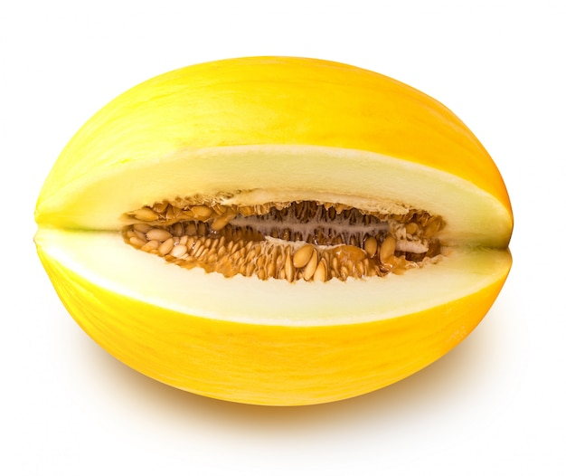 Yellow eating melon isolated