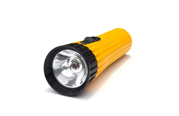 Yellow electric flashlight with simple  isolate on white