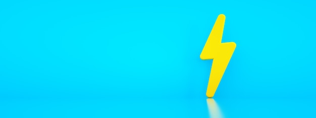 Yellow electric power sign over blue background, panoramic layout with space for text, 3d rendering