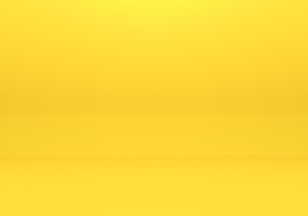 Yellow empty room interior design, blank yellow display on floor background with minimal style