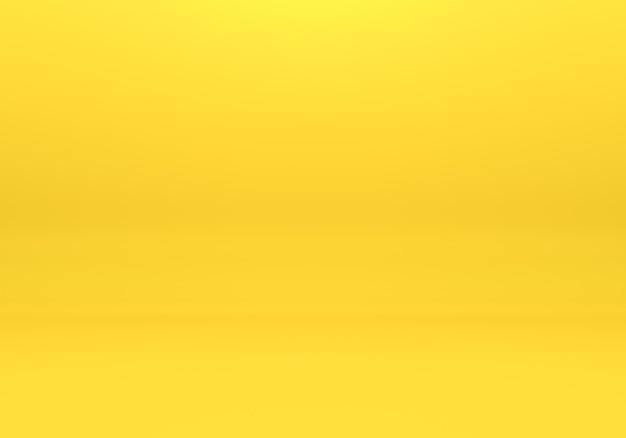 黄色の空の部屋のインテリアデザイン、最小限のスタイルで床の背景に空白の黄色のディスプレイ