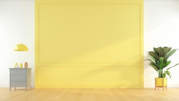 노란색 벽과 사이드 테이블, 나무 바닥, 녹색 식물이 있는 노란색 빈 방. 3d 렌더링