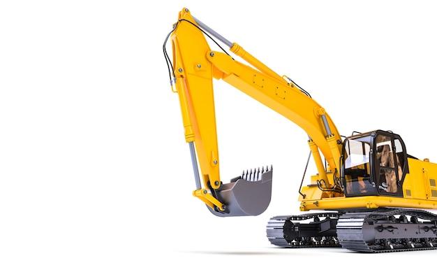 白い背景の上の黄色の掘削機。 3dレンダリング