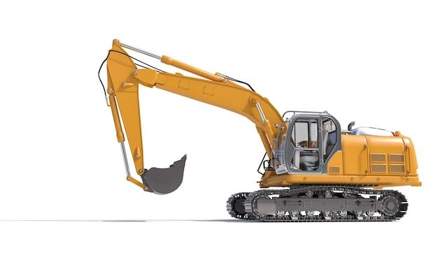 Yellow excavator on the white background.