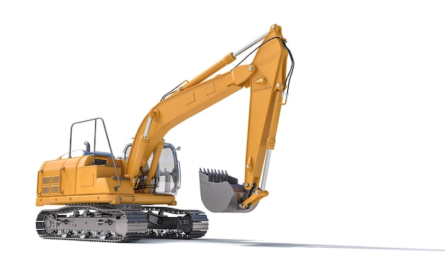 Yellow excavator on the white surface