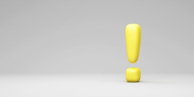 Желтый восклицательный знак на сером фоне студии