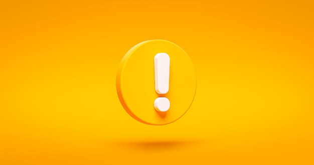 Yellow exclamation mark symbol and attention or caution sign icon on alert danger problem background with warning graphic flat design concept. 3d rendering.