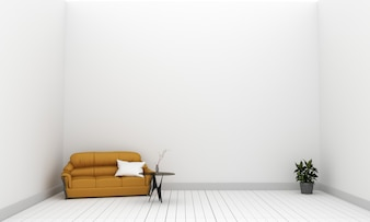 Yellow fabric sofa and plants on empty white wall