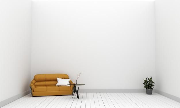 Желтый тканевый диван и растения на пустой белой стене