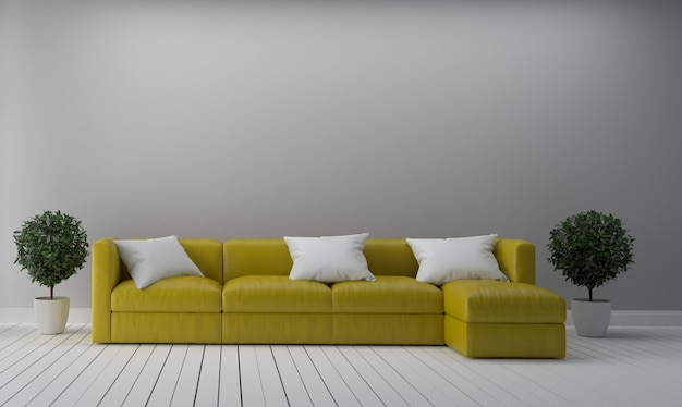 Yellow fabric sofa on empty white wall background.