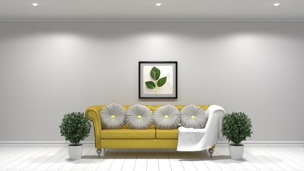 Желтый тканевый диван, лампа и растения и рамка на пустой белой стене