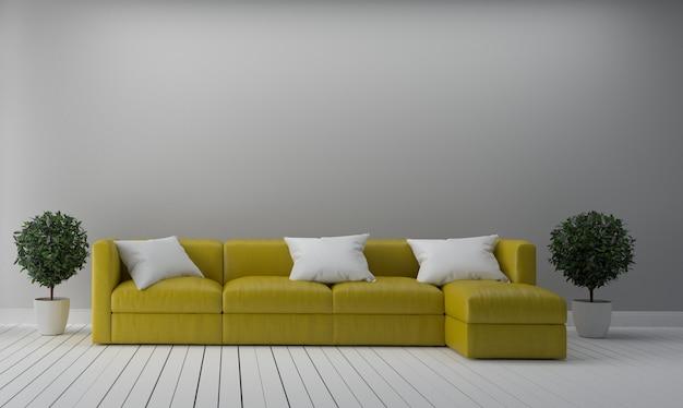 Желтый диван ткани на пустой белый фон стены.