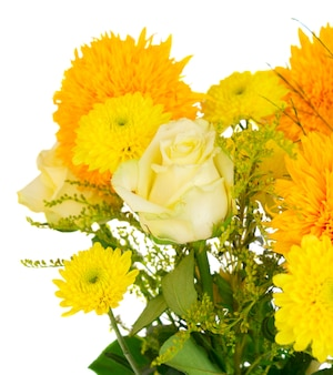 Yellow fall flowers bouquet close up isolated on white background