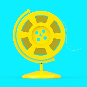 Yellow film reel with cinema tape in the shape of earth globe as duotone style on a blue background. 3d rendering