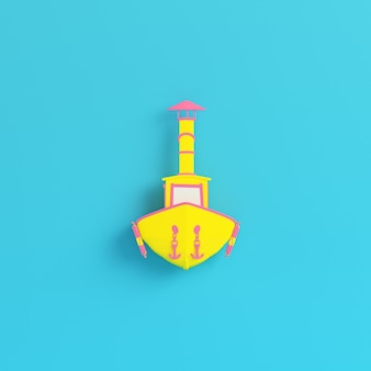 Yellow fishing boat on bright blue background in pastel colors. 3d render