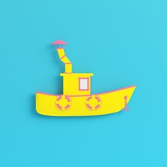 Yellow fishing boat on bright blue background