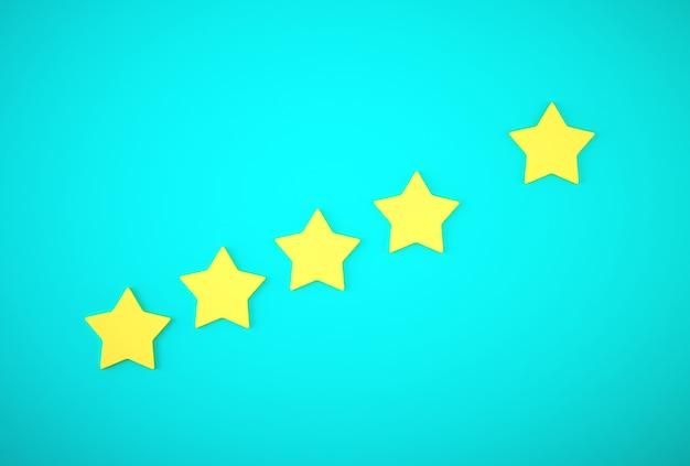 黄色の5つ星。最高の優れた評価の顧客体験コンセプト。