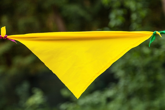 Yellow flag from a garland in the park
