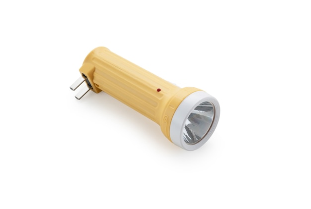 흰색 바탕에 노란색 손전등