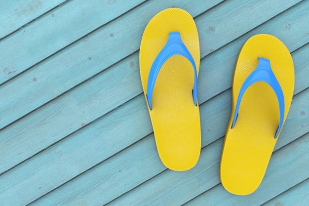 青い木の床に黄色のビーチサンダル。 3dレンダリング