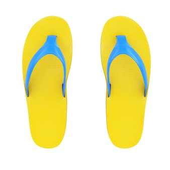 白い背景の上の黄色のビーチサンダル。 3dレンダリング