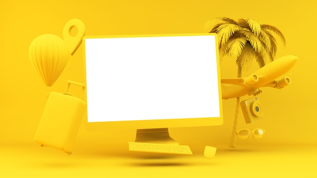 Yellow floating computer surrounded by traveling objects