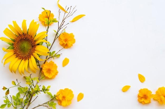 Yellow flowers arrangement postcard style