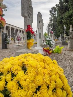 배경에 많은 비석이 있는 묘지의 비석에 있는 노란색 꽃