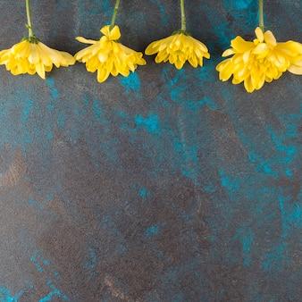 グランジ背景に黄色の花