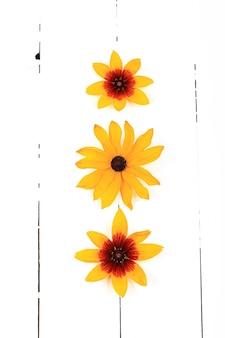 흰색 나무 배경 평면도 평면 스타일 오버 헤드에 노란색 꽃