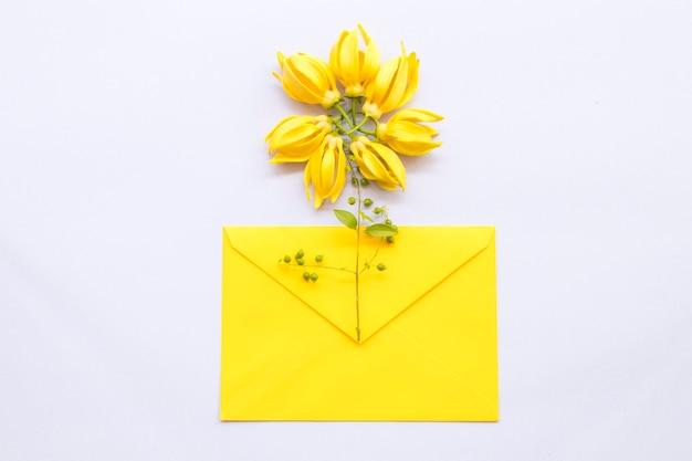 Yellow flowers ylang ylang on envelope