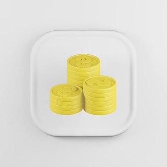 Иконка желтые сложенные монеты в мультяшном стиле.