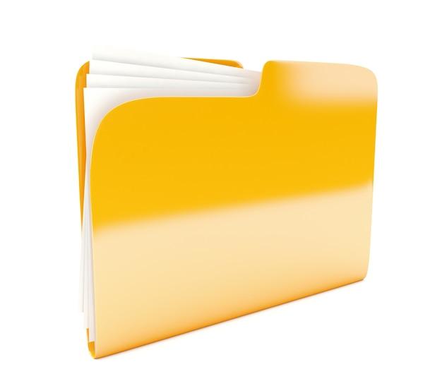 노란색 폴더 3d 아이콘 흰색 절연