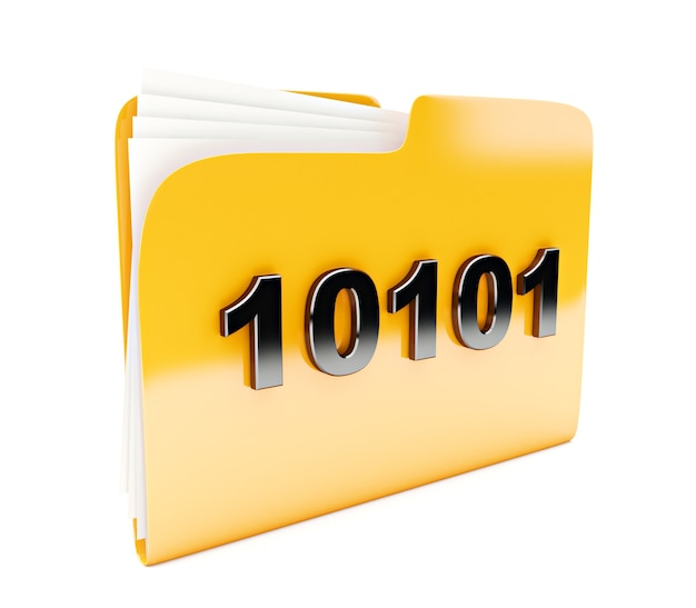 Yellow folder 3d icon with  binary code isolated on white