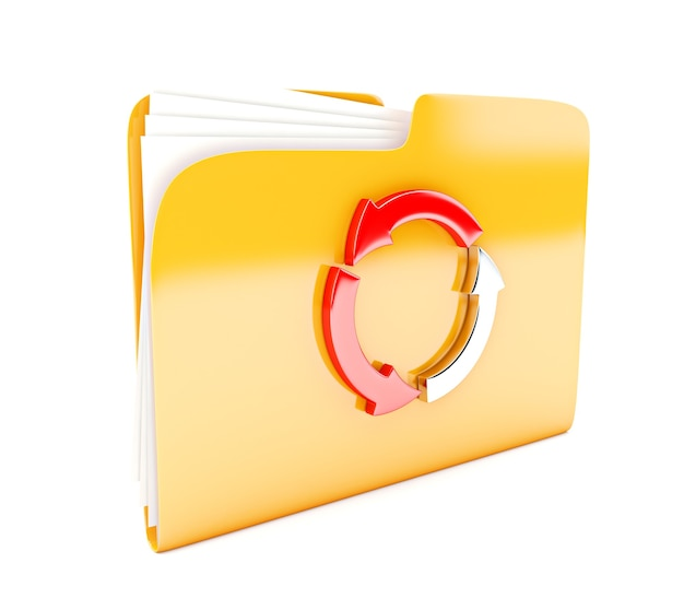 白で隔離の円形矢印と黄色のフォルダー3dアイコン