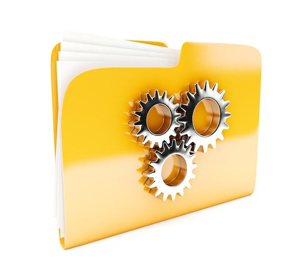 흰색 절연 톱니와 노란색 폴더 3d 아이콘