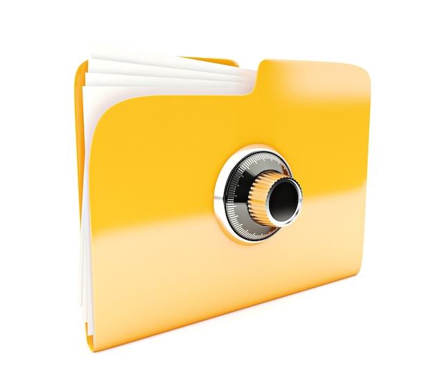 白で隔離されるコンビネーションロックと黄色のフォルダー3dアイコン