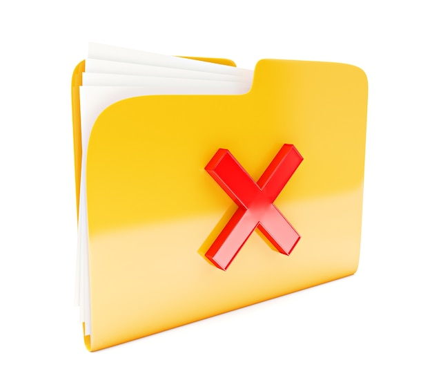 白で隔離赤い十字削除マークと黄色のフォルダー3dアイコン