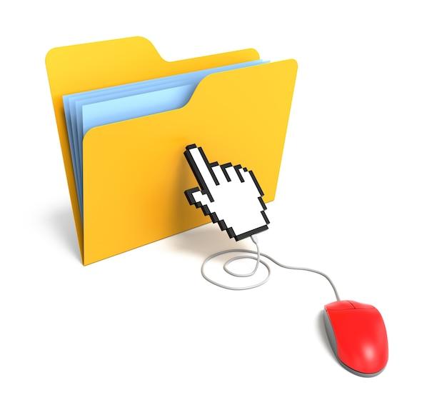노란색 폴더가 손 모양 커서로 마우스에 연결되었습니다. 3d 렌더링