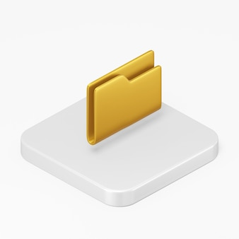 Yellow folder icon in 3d rendering interface ui ux element