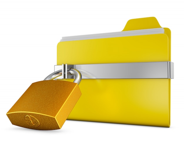Yellow folder and a metal lock