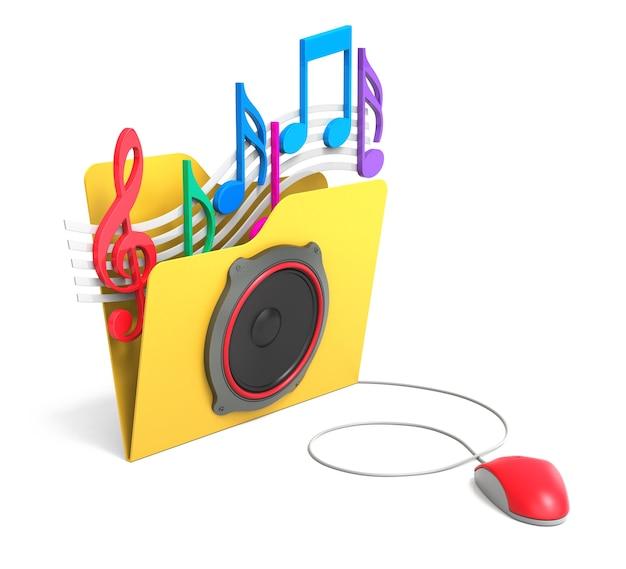 컴퓨터 마우스로 음악 노트가 있는 노란색 폴더