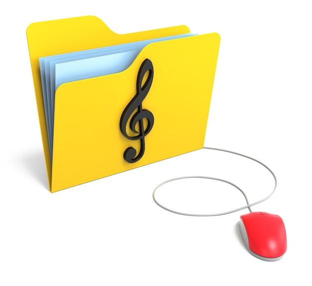 컴퓨터 마우스가 있는 고음 음자리표가 있는 노란색 폴더