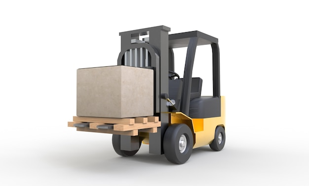 Yellow forklift moving and lifting up cardboard box pallet