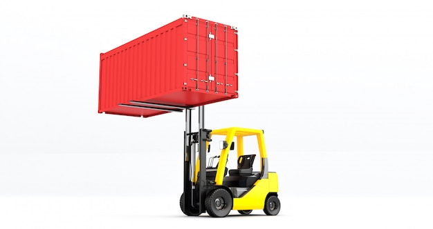 Yellow forklift truck with container on pallet shot on white background