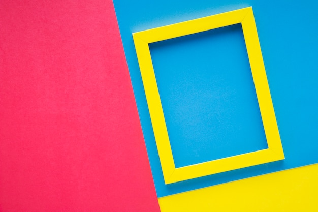 Yellow frame on colorful background